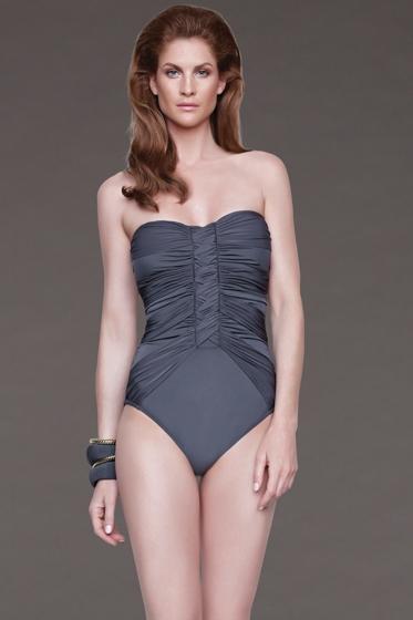 Gottex Grey Dream Weaver Bandeau One Piece Swimsuit