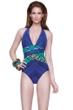 Gottex Emerald Boa Plunge Halter One Piece Swimsuit