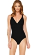 Gottex Au Naturel Black V-Neck One Piece Swimsuit