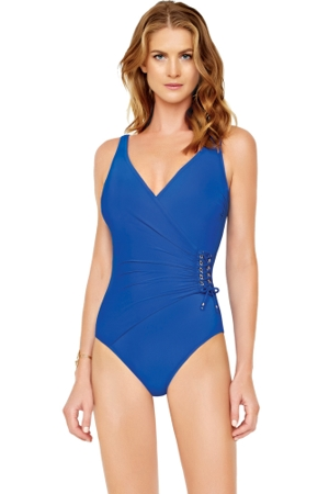 Gottex Gold Standard Blue Surplice One Piece Swimsuit