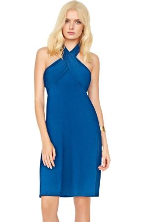 5-in-1 Gottex Lattice Blue Beach Dress