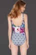 Full Coverage Gottex Le Jardin Square Neck High Back One Piece Swimsuit
