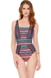 Full Coverage Gottex Nefertiti Square Neck High Back One Piece Swimsuit