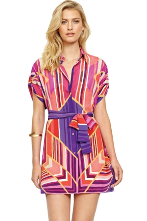 Gottex Art Deco Silk Blouse Dress