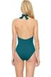 Gottex Au Naturel Teal V-Neck Halter Surplice One Piece Swimsuit