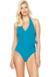 Gottex Au Naturel Turquoise Halter Surplice One Piece Swimsuit