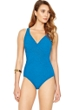 Gottex Essence Azure V-Neck Surplice High Back One Piece Swimsuit