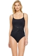 Gottex Grace Kelly Black Round Neck High Back One Piece Swimsuit