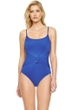 Gottex Grace Kelly Royal Blue Round Neck High Back One Piece Swimsuit
