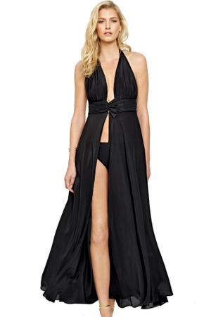 Gottex Grace Kelly Black Silk Halter Long Dress with Low Rise Bottom
