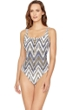 Gottex Golden Sand Square Neck Zip Front High Back One Piece Swimsuit