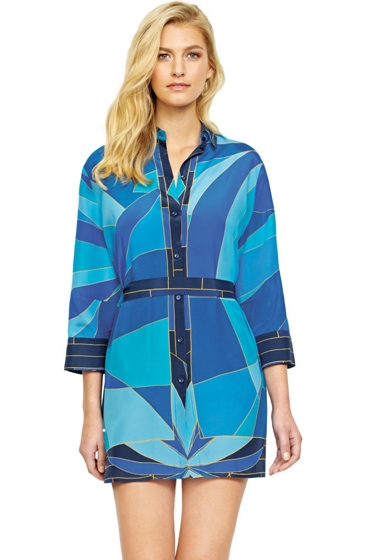Gottex Kaleidoscope Silk Blouse Dress