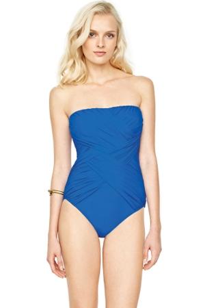 Gottex Lattice Royal Blue Bandeau One Piece Swimsuit