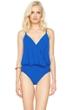 Gottex Lattice Royal Blue Underwire Blouson Surplice One Piece Swimsuit