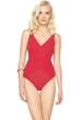 Gottex Lattice Red Surplice One Piece Swimsuit