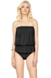 Gottex Lattice Black Mesh Blouson Bandeau One Piece Swimsuit