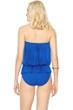 Gottex Lattice Royal Blue Mesh Blouson Bandeau One Piece Swimsuit