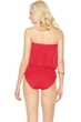 Gottex Lattice Red Mesh Blouson Bandeau One Piece Swimsuit