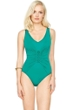Gottex Landscape Emerald Lace Up V-Neck High Back One Piece Swimsuit