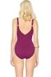 Gottex Landscape Cranberry Lace Up V-Neck High Back One Piece Swimsuit