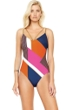 Gottex Maritime Orange V-Neck Removable Back Straps One Piece Swimsuit