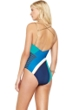 Gottex Maritime Blue V-Neck Removable Back Straps One Piece Swimsuit
