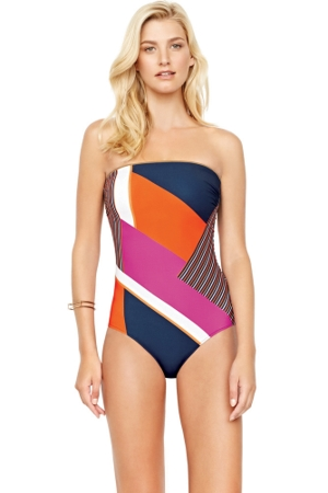Gottex Maritime Orange Bandeau One Piece Swimsuit