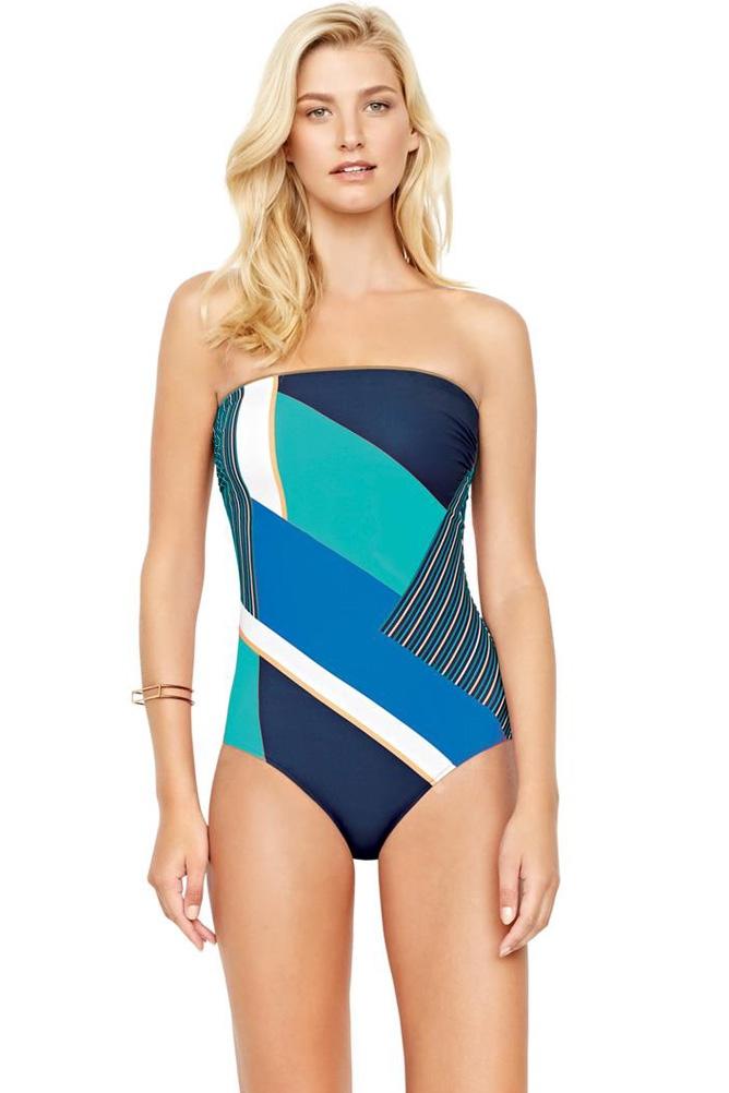 Gottex Maritime Blue High Neck One Piece Swimsuit Size 10