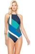 Gottex Maritime Blue High Neck One Piece Swimsuit