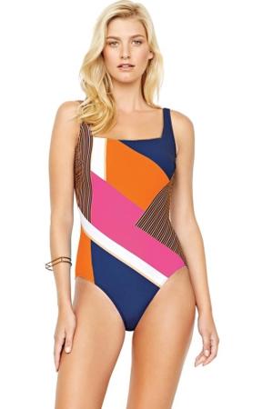 Gottex Maritime Orange Square Neck High Back One Piece Swimsuit