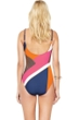 Gottex Maritime Orange Square Neck High Back One Piece Swimsuit