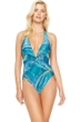 Gottex Tourmaline Deep Plunge Halter One Piece Swimsuit
