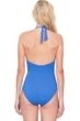 Gottex Au Naturel Dusk Blue Halter Surplice Side Bow One Piece Swimsuit