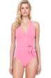 Gottex Au Naturel Coral Halter Surplice Side Bow One Piece Swimsuit