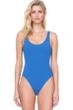 Gottex Au Naturel Dusk Blue Scoop Neck High Leg Underwire One Piece Swimsuit