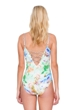 Gottex Aquarelle Green Plunge Zip Front Strappy Back One Piece Swimsuit