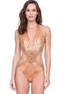 Gottex Athena Goddess of War Gold Macrame Plunge Halter Cut Out Monokini One Piece Swimsuit