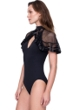Gottex Aura Greek Goddess of the Breeze V-Neck Mesh Caped One Piece Swimsuit