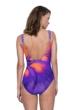 Gottex Belle Fleur Purple Square Neck High Back One Piece Swimsuit