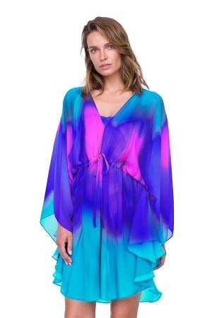 Gottex Belle Fleur Blue Kimono with Belt