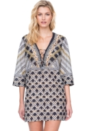 Gottex Chains of Gold Lace Front V-Neck Tunic