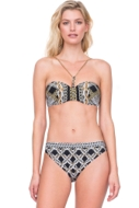 Gottex Chains of Gold Braided Chain Bandeau Underwire Bikini Top with Matching Classic Mid Rise Hipster Bikini Bottom