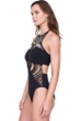 Gottex Cleopatra Queen of Egypt Black Mesh Embroidered Halter High Neck Velvet One Piece Swimsuit