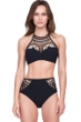 Gottex Cleopatra Queen of Egypt Black Mesh Embroidered High Neck Velvet Bikini Top with Matching Velvet Bikini Bottom