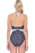 Gottex Camellia Black and White Lace High Neck Halter One Piece Swimsuit