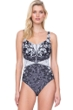 Gottex Camellia Black and White Shaped Square Neck One Piece Swimsuit
