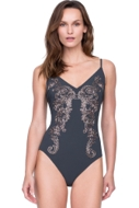 Gottex Catherine Duchess of Cambridge Grey Embroidered Lace V-Neck Lingerie Underwire One Piece Swimsuit