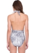 Gottex Diana Princess of Wales Grey Jewelled Front Deep Plunge Halter One Piece Swimsuit