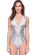 Gottex Diana Princess of Wales Grey Rhinestones V-Neck Halter One Piece Swimsuit