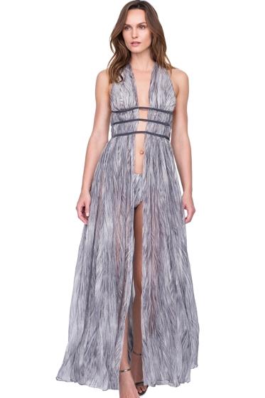Gottex Diana Princess of Wales Grey Deep Plunge Halter Long Silk Dress with Matching Hipster Bikini Bottom